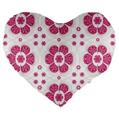 Sweety Pink Floral Pattern 19  Premium Heart Shape Cushion
