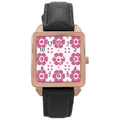 Sweety Pink Floral Pattern Rose Gold Leather Watch