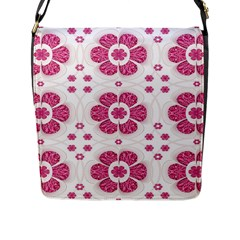 Sweety Pink Floral Pattern Flap Closure Messenger Bag (Large)