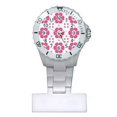 Sweety Pink Floral Pattern Nurses Watch