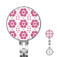 Sweety Pink Floral Pattern Stainless Steel Nurses Watch