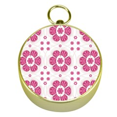 Sweety Pink Floral Pattern Gold Compass