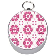 Sweety Pink Floral Pattern Silver Compass