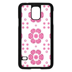 Sweety Pink Floral Pattern Samsung Galaxy S5 Case (black)