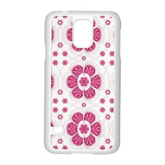 Sweety Pink Floral Pattern Samsung Galaxy S5 Case (White)