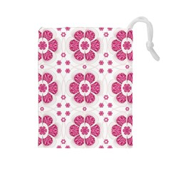 Sweety Pink Floral Pattern Drawstring Pouch (large)