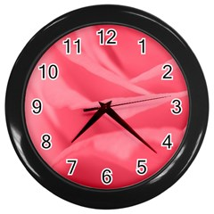 Pink Silk Effect  Wall Clock (black)