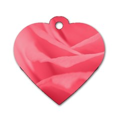 Pink Silk Effect  Dog Tag Heart (one Sided)