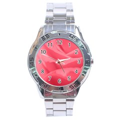 Pink Silk Effect  Stainless Steel Watch