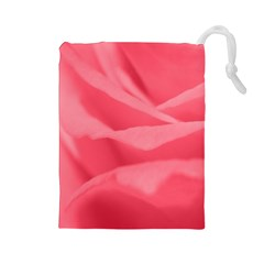 Pink Silk Effect  Drawstring Pouch (large)