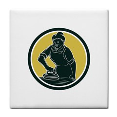 African American Woman Ironing Clothes Woodcut Ceramic Tile
