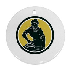 African American Woman Ironing Clothes Woodcut Round Ornament
