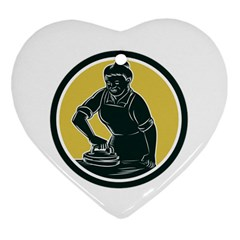 African American Woman Ironing Clothes Woodcut Heart Ornament