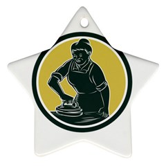 African American Woman Ironing Clothes Woodcut Star Ornament