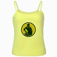African American Woman Ironing Clothes Woodcut Yellow Spaghetti Tank