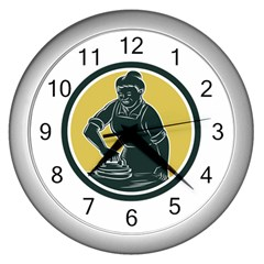 African American Woman Ironing Clothes Woodcut Wall Clock (silver)