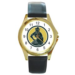 African American Woman Ironing Clothes Woodcut Round Leather Watch (Gold Rim)