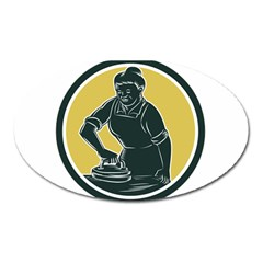 African American Woman Ironing Clothes Woodcut Magnet (Oval)