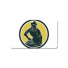 African American Woman Ironing Clothes Woodcut Magnet (name Card)
