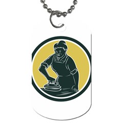 African American Woman Ironing Clothes Woodcut Dog Tag (one Sided)