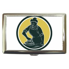 African American Woman Ironing Clothes Woodcut Cigarette Money Case