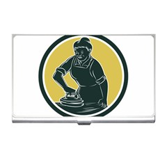 African American Woman Ironing Clothes Woodcut Business Card Holder