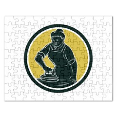 African American Woman Ironing Clothes Woodcut Jigsaw Puzzle (rectangle)