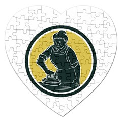 African American Woman Ironing Clothes Woodcut Jigsaw Puzzle (heart)