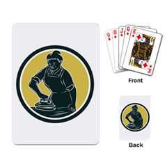 African American Woman Ironing Clothes Woodcut Playing Cards Single Design