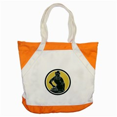 African American Woman Ironing Clothes Woodcut Accent Tote Bag
