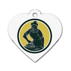 African American Woman Ironing Clothes Woodcut Dog Tag Heart (Two Sided)