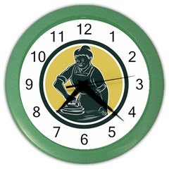 African American Woman Ironing Clothes Woodcut Wall Clock (color)