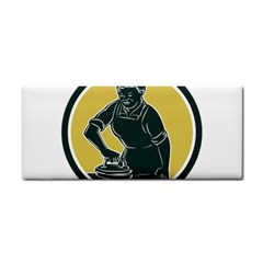 African American Woman Ironing Clothes Woodcut Hand Towel