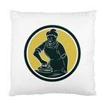 African American Woman Ironing Clothes Woodcut Cushion Case (Two Sided)  Back