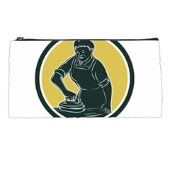 African American Woman Ironing Clothes Woodcut Pencil Case