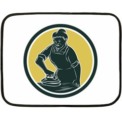 African American Woman Ironing Clothes Woodcut Mini Fleece Blanket (Two Sided)