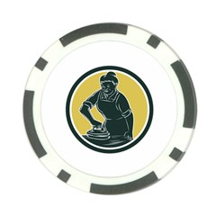 African American Woman Ironing Clothes Woodcut Poker Chip (10 Pack)