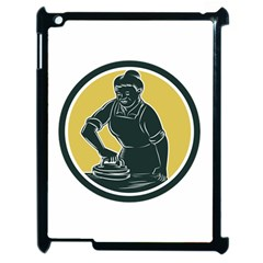African American Woman Ironing Clothes Woodcut Apple Ipad 2 Case (black)