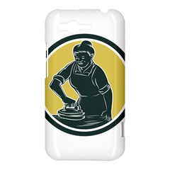 African American Woman Ironing Clothes Woodcut HTC Rhyme Hardshell Case