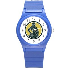 African American Woman Ironing Clothes Woodcut Plastic Sport Watch (small)