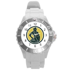 African American Woman Ironing Clothes Woodcut Plastic Sport Watch (large)