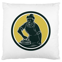 African American Woman Ironing Clothes Woodcut Large Cushion Case (Two Sided)