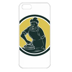African American Woman Ironing Clothes Woodcut Apple Iphone 5 Seamless Case (white)