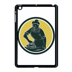 African American Woman Ironing Clothes Woodcut Apple Ipad Mini Case (black)