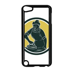 African American Woman Ironing Clothes Woodcut Apple Ipod Touch 5 Case (black)
