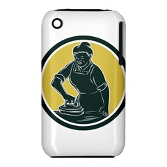 African American Woman Ironing Clothes Woodcut Apple iPhone 3G/3GS Hardshell Case (PC+Silicone)