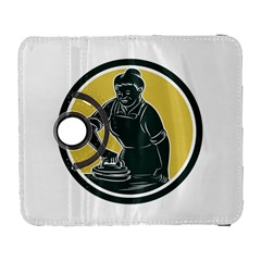 African American Woman Ironing Clothes Woodcut Samsung Galaxy S  III Flip 360 Case