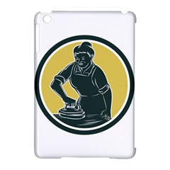 African American Woman Ironing Clothes Woodcut Apple Ipad Mini Hardshell Case (compatible With Smart Cover)