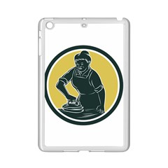 African American Woman Ironing Clothes Woodcut Apple iPad Mini 2 Case (White)