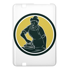 African American Woman Ironing Clothes Woodcut Kindle Fire Hd 8 9  Hardshell Case